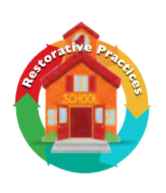 School house with circle around it representing the cycle of restorative practices.